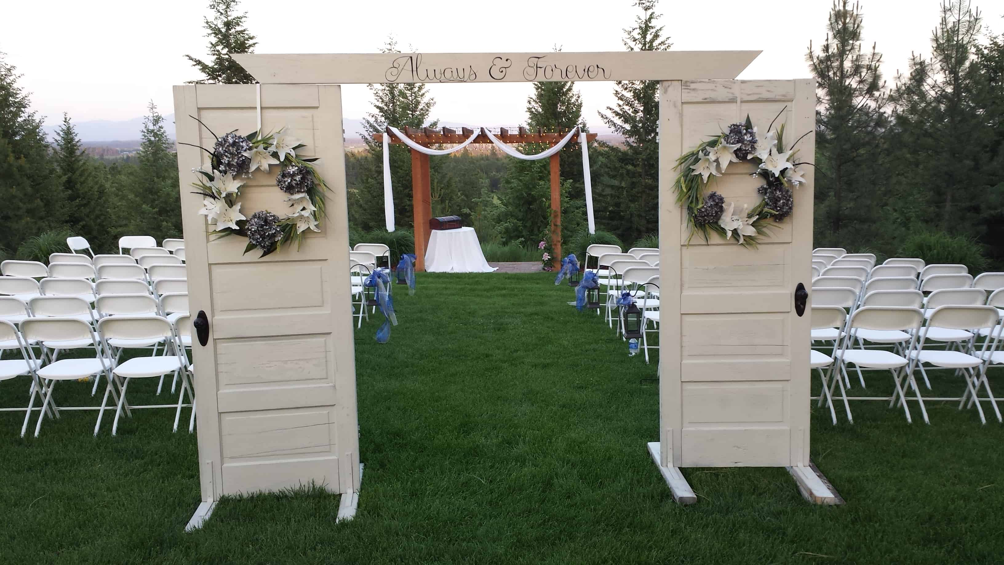 More ridge decor ceremony entrance denison ridge for Wedding door decorating ideas